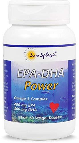 SunSplash EPA-DHA Power – Omega-3 hochdosiert – 400 mg EPA / 300 mg DHA – 60 Softgel-Kapseln – aus Kaltwassermeeresfischen – höchster Qualitätsstandard