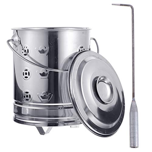 Cabilock 1 Set Burn Bin with Tongs Stainless Steel Incinerator Cage Barrel Fire Pit with Burning Tongs for Yard Home Outdoor