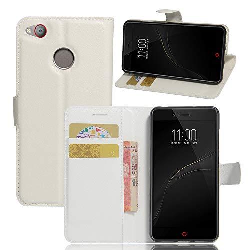 Tasche für ZTE Nubia Z11 Mini S Hülle, Ycloud PU Ledertasche Flip Cover Wallet Hülle Handyhülle mit Stand Function Credit Card Slots Bookstyle Purse Design weiß