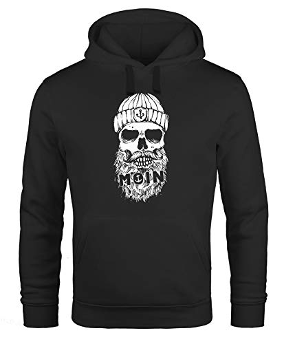 Neverless® Hoodie Herren Moin Totenkopf Anker Skull Kapuzen-Pullover Männer schwarz XXL