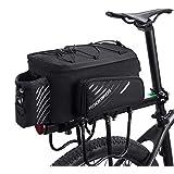 ROCKBROS(ロックブロス)自転車 リアバッグ 大容量 パニアバッグ ショルダー フレームバッグ 9-12L拡張可能 防水カバー付き 撥水 仕切り調節可能(ブラック)