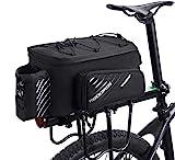 ROCKBROS Bolsa Trasera para Bicicleta Alforja Multifuncional Extensible Portátil 12L para Ciclismo Viaje
