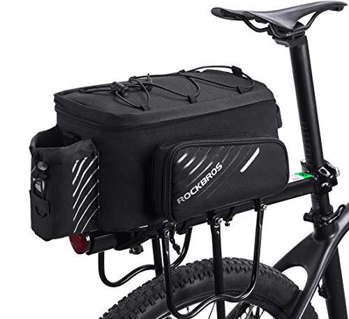 ROCKBROS Fahrrad Gepäckträgertasche Fahrradtasche Hinter Transporttasche Gepäcktasche Wasserdicht Schwarz Faltbare Seitentaschen 9-12L mit Regenschutz