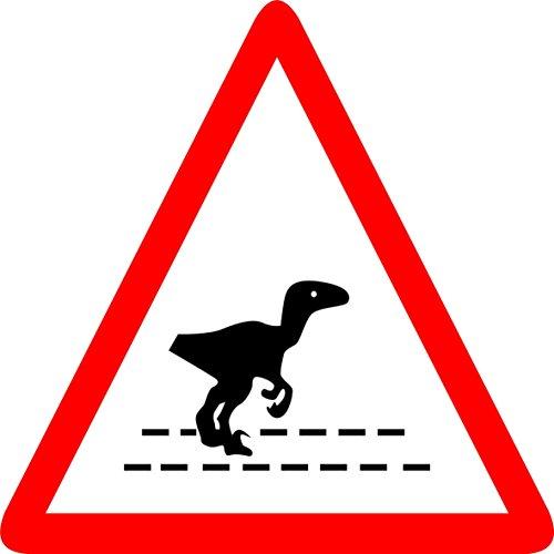 Label - Sécurité - Avertissement - Jurassic Park - Vinyle/Adhésif - 20x20cm - bureau, entreprise, école, hôtel