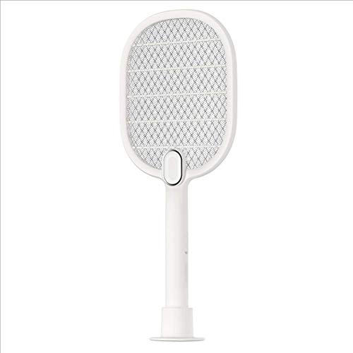 VOLORE Eléctrico Mosquito Mosca Loco Matamoscas,Protección de Malla de Seguridad de 3 Capas/USB Recargable/Iluminación LED, Plagas Insectos Asesino Repelente(Blanco)