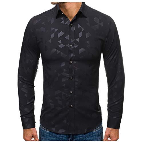 WINLISTING Herren Fashion gestempelt Langarm-Shirt gedruckt Langarm-Bluse