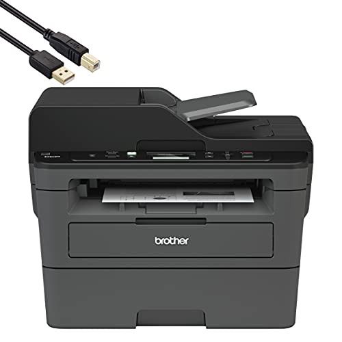Brother DCPL2550DW Wireless Monochrome Compact Multifunction Laser Printer for Home Office - 2400 x 600 dpi, Up to 36 ppm Printing Speed, 50-Sheet ADF, Duplex Printing - BROAGE 10 Feet Printer Cable