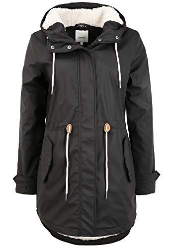 OXMO Jolina Damen Regenmantel Regenjacke Übergangsjacke, Größe:XXL, Farbe:Black (194007)