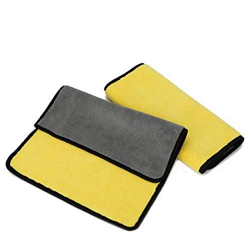 SOOJET Paños de Limpieza de Microfibra Coche Secado Bayetas, Paños de Lavado de Autos Limpios Sin Productos Químicos, Toallas de Pulido de Cera para Cuidado del Automóvil, Súper Absorbente (2 Pack)