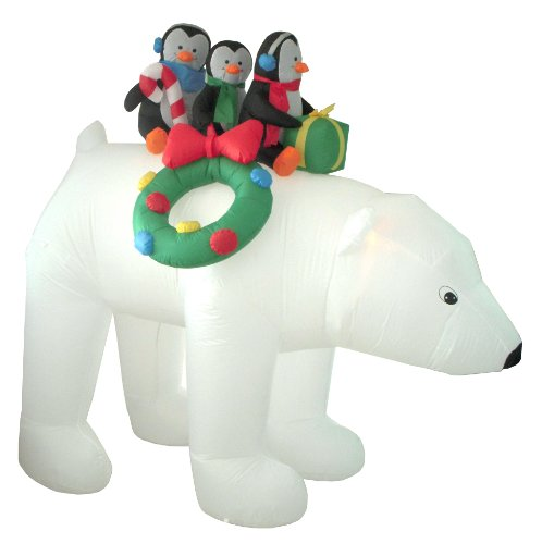 Adorable Polar Bear and Penguins Inflatable Christmas Decorations