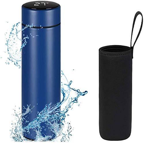 Flintronic Thermosflasche, 500ML Wasserflasche Vakuum Isolierbecher 304 Edelstahl, LCD-Touchscreen-Temperaturanzeige, Smart Becher Dichtflasche Ideal für Hitze und Kälte - Blau