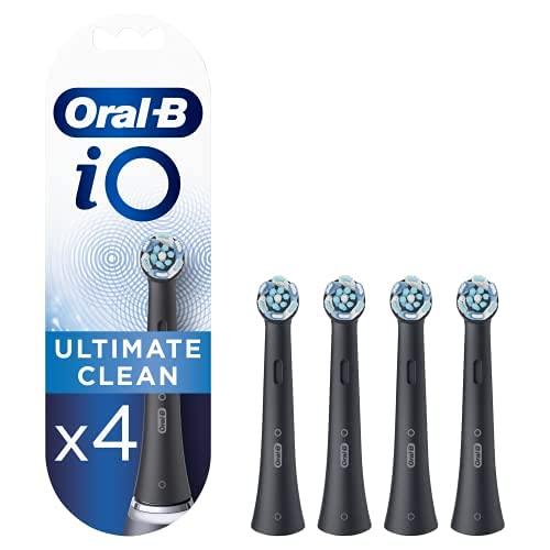 Oral-B iO Ultimate Clean Brossettes de rechange pour Brosse à Dents Électrique Format Spécial Boîte Aux Lettres, Noir, Pack de 4