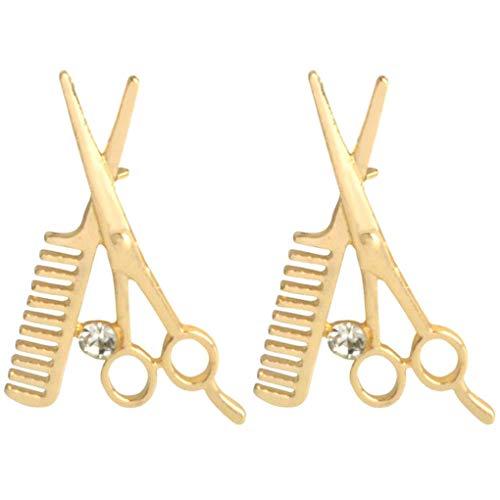 CoSunny Kam Schaar Lapel Pin 2 Stuk Set Barber Gereedschap Emaille Broche Pins Jassen Denim Shirt Kraag Accessoires Geschenken Goud
