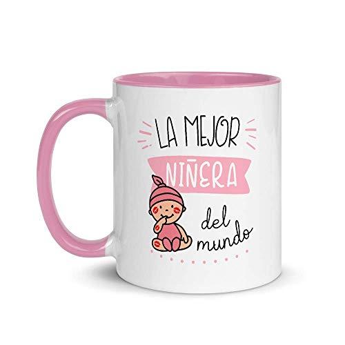 Kembilove. Tazas Desayuno Originales de Profesiones para Regalar a Trabajadores – Taza de Café de la Mejor Niñera Rosa del Mundo – Tazas con Frases Divertidas 100 Modelos de Profesiones