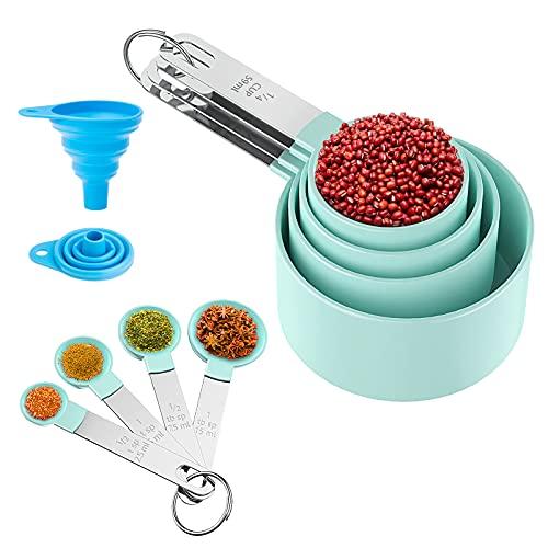 OMEW Cucharas Medidoras, Juego de 8 Medidores Cocina Silicona, Taza y Cuchara de Medición con Mango de Acero Inoxidable para Medir Líquidos y Los Ingredientes de Cocina y Hogar