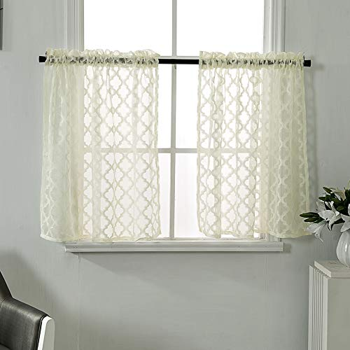 Home Decorative Sheer Curtains Jacquard Patterned Short Window Curtains Rod Pocket Half Window Curtain for Kitchen Window 29x24 Inch Cream Yellow Set of 2