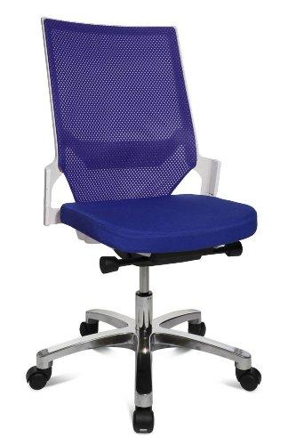 Drehstuhl Autosynchron®-1 Alu blau mit Aluminium-Fußkreuz Rückengestell weiß ohne Armlehnen