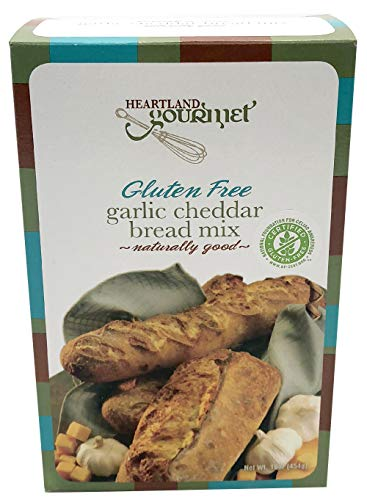 Heartland Gourmet Gluten Free Garlic Cheddar Bread Mix - Works in a Bread Making Machine - Certified Gluten Free Ingredients - All Purpose - Safe for Celiac Diet