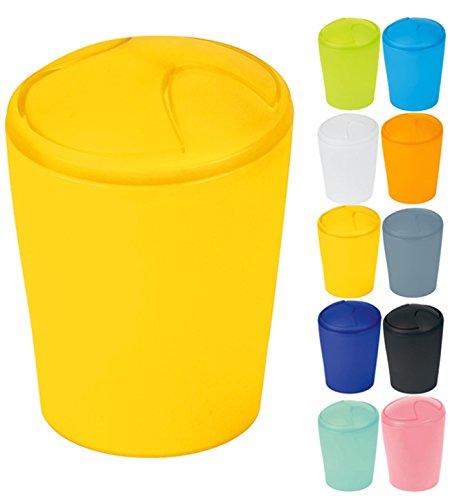 Spirella Kosmetikeimer Move Abfalleimer Schwingdeckeleimer | Kunststoff | 2 Liter |Sun Gelb
