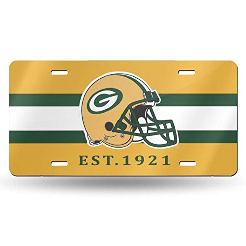 VF LSG Green Bay Packers License Plate Frames,American Football Design Car License Plate Holder Universal American Auto Easy Installation 6×12 inch