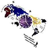VOSAREA World Map Wall Clock Nordic Modern Minimalist Decoration Luminous Silent Wall Hanging Clock Wall Art for Home Living Room Office Cafe Hotel Decor No Battery