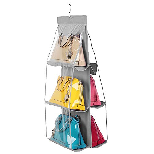 ROGF Travel Storage Bag 6 Clear Pockets 2-Sided Bags Storage Closet Hanging Purse Organizer Blankets Sheets Towels Storage Holder For travel (Color : C2)