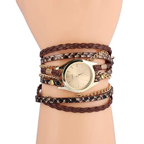 SALUTUYA 22.4 Pulgadas PU Pulsera de Cuero Reloj Reloj de Cuarzo Reloj Redondo Simple y Elegante(Brown)
