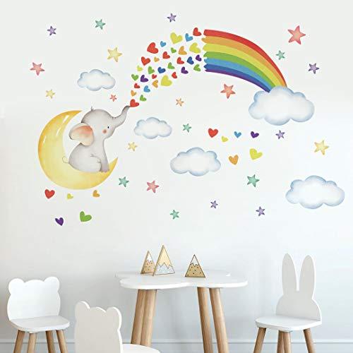 Runtoo Pegatinas de Pared Elefante Luna Stickers Adhesivos Vinilo Arco Iris Arte Decorativas Infantiles Habitacion Bebe