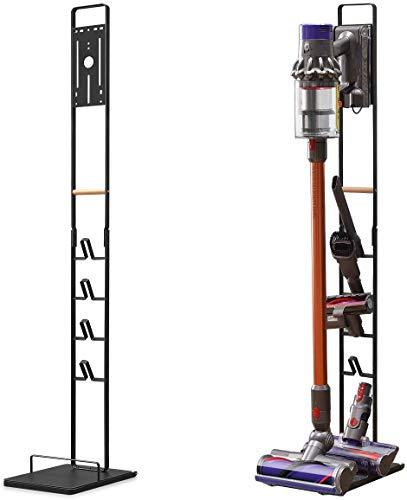 Luchs Ständer Universal für Akkusauger/Handstaubsauger - Organizer für Dyson V6,V7,V8,V10,V11,DC30,DC31,DC34,DC35 Standfuß Halterung Rahmen auf RÄDERN und HOLZGRIFF (Schwarz)