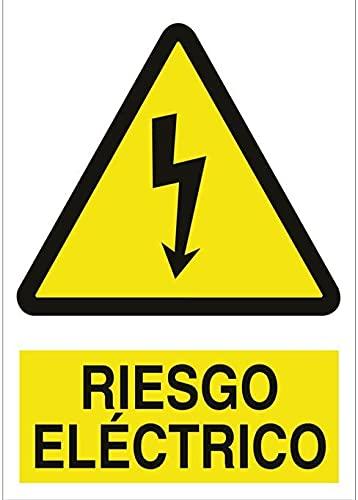Cartel señal PVC 40 cm x 30 cm riesgo electrico 1 mm...