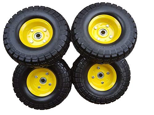 4 x Frosal PU Bollerwagen Ø 260 mm 4.10/3.50-4 | Ersatzrad Reifen Sackkarre | Achse 16 mm | Pannensicher mit Kugellager | Stahlfelge gelb | Sackkarrenrad