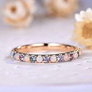 Opal Color Change Alexandrite Wedding Band Engagement Ring Full Eternity Solid 14k Yellow Rose White Gold Stackable Anniversary Ring