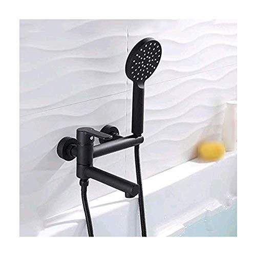 WLALLSS Grifo de bañera Negro con caño Giratorio, Grifo Mezclador de latón de una manija de 2 Orificios para Montaje en la Pared con 3 Patrones de rociado Ducha de Mano