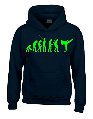 Coole-Fun-T-Shirts Karate Evolution Kinder Sweatshirt mit Kapuze Hoodie schwarz-Green, Gr.140cm