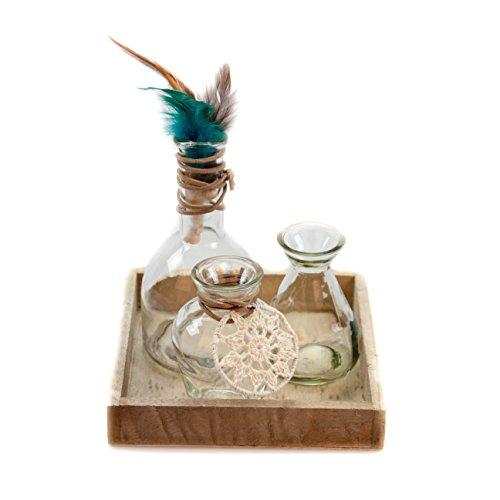 Glaskönig Vasen-Set, Glasvasen-Set auf einem Holzbrett. Dekorations-Set als Tischdekoration mit 3 Glasflaschen. Kleine Glasvasen zur Dekoration