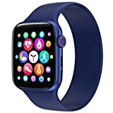 U/K OLYRICK-T Smart Watches for Men Women Bluetooth 1.54IPS Large Screen Watch Heart Pressure Monitor Fitness Tracker Sports Watch for Android Phones iPhone Rose Gold Case with Blue Band