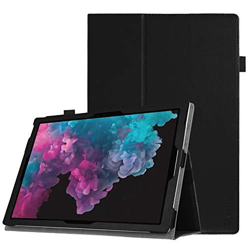 Fintie Hülle für Microsoft Surface Pro 7 - Slim Fit Kunstleder Stand Schutzhülle Cover mit Stylus-Halterung für New Surface Pro 6 / Pro 5 / Pro 4 / Pro 3 (12,3 Zoll) Tablet-PC, Schwarz