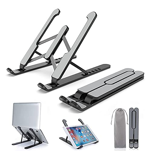 Soporte para ordenador portátil, plegable, portátil, ventilado, soporte universal ajustable para portátil, bandeja ergonómica compatible con laptop/teléfono/tableta/Kindle/Nintendo