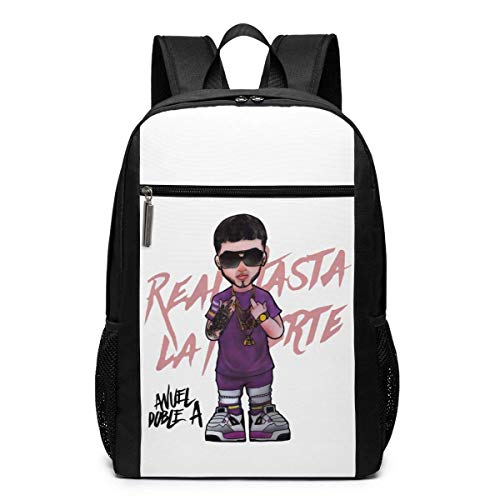 Husimy Mochila de Libros Eco-Friendly Anuel AA Real hasta La Muerte Canvas Backpacks For Men Women