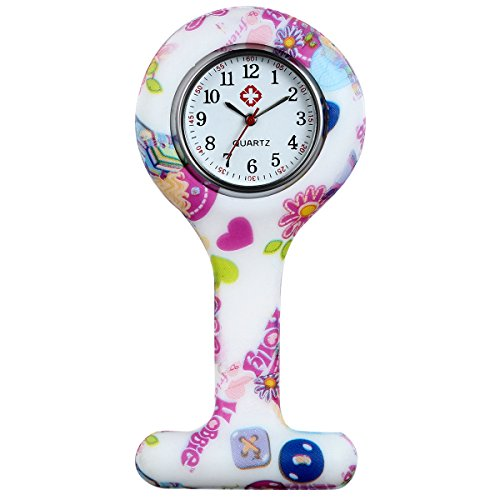 Lancardo Uhren,Krankenschwester Armbanduhr FOB-Uhr Damen Taschenuhr Analog Quarzuhr aus Silikon, rosa Mehrfarbig