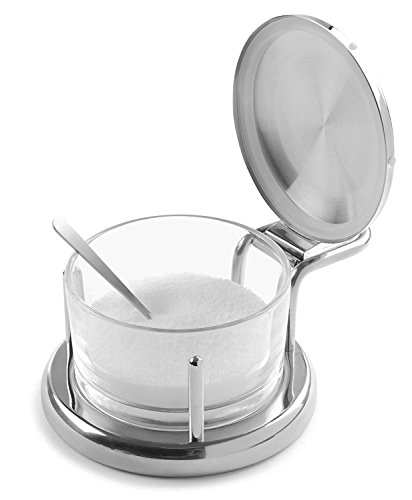 Glass Salt Server with Lid and Spoon Stainless Steel Serving Bowl Great for Storing Salt, Sugar, Honey, Cheese, Condiments, Spices and Herbs