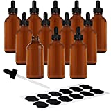 Belle Vous Amber Glass Dropper Bottles (12 Pack) - 60ml / 2oz Refillable Bottles with Eye Dropper Pipettes - Empty Tincture Bottles for Essential Oils/Beauty Oil Mix, Aromatherapy Blends, and More