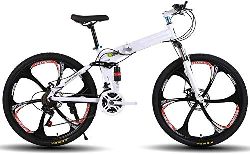 XSLY Foldable Mountain Bike 26 Inches, Bicycle Mountain Bike for Adults 21 Speed Shifter Accelerator with 6 Cutter Wheel Suitable Outdoor Cycling Road Bike for 160-185cm Crowd