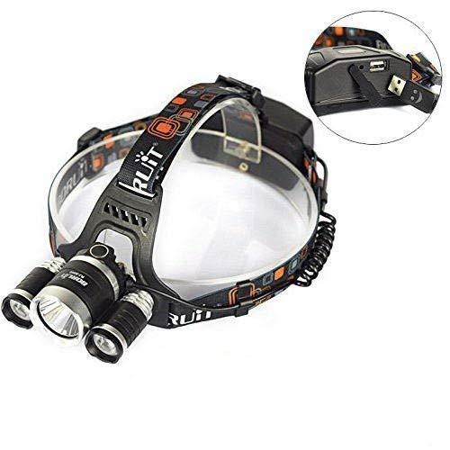 Boruit Lampe Frontale LED Ultra Puissante Rechargeable Etanche 6000 Lumen T6 LED Headlamp pour Camping Pêche Cyclisme Course à Pied Randonnée Chasse Vélo Plein air - Chargeur EU