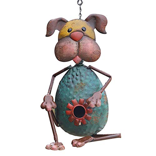 Vogelhuisje Metal Dog Birdhouse Decoratieve Met De Hand Beschilderd Opknoping Huis Van De Vogel For Outdoor Tuin Birdhouse Open Lucht Decoratieve Tuin (Color : Blue, Size : 32x20cm)