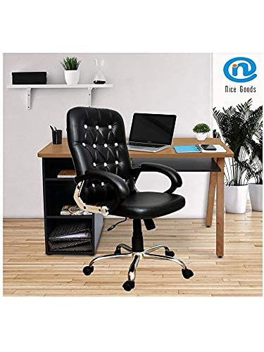 NICE GOODS Ply Maharaja Swivel Chair with Arm Rest, and Adjustable Height (Black)