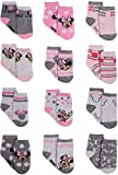 Disney Baby Girls Minnie Mouse Character Design Socks 12 Pack (Newborn and Infants), Minnie Pink/White/Grey, Age 0-6M
