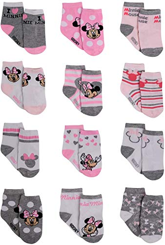 Disney Baby Girls Minnie Mouse Character Design Socks 12 Pack (Newborn and Infants), Minnie Pink/White/Grey, Age 6-12M