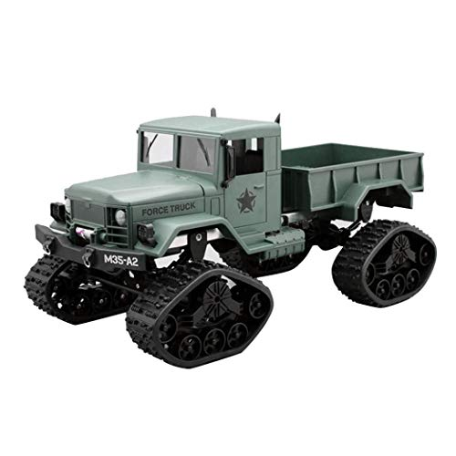 Kanzd RC Military Truck Army 1:16 4WD Tracked Wheels Crawler Off-Road Car RTR Toy New (Green)