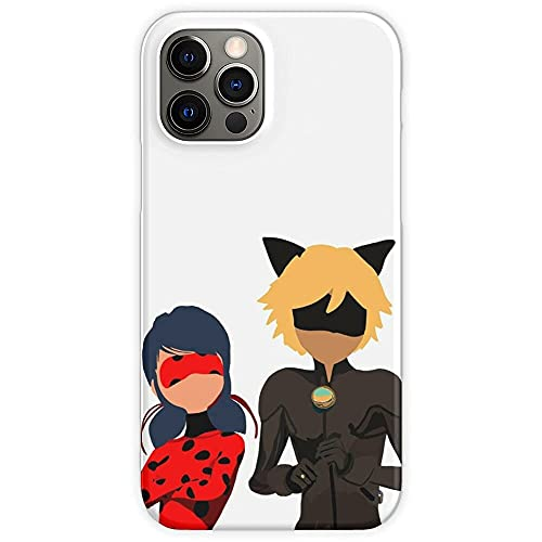 Jinfugongmao Compatible con iPhone 12/11 Pro MAX 12 Mini SE X/XS MAX XR 8 7 6 6s Plus Funda Ladybug Miraculous Cat Noir Cajas del Teléfono Cover